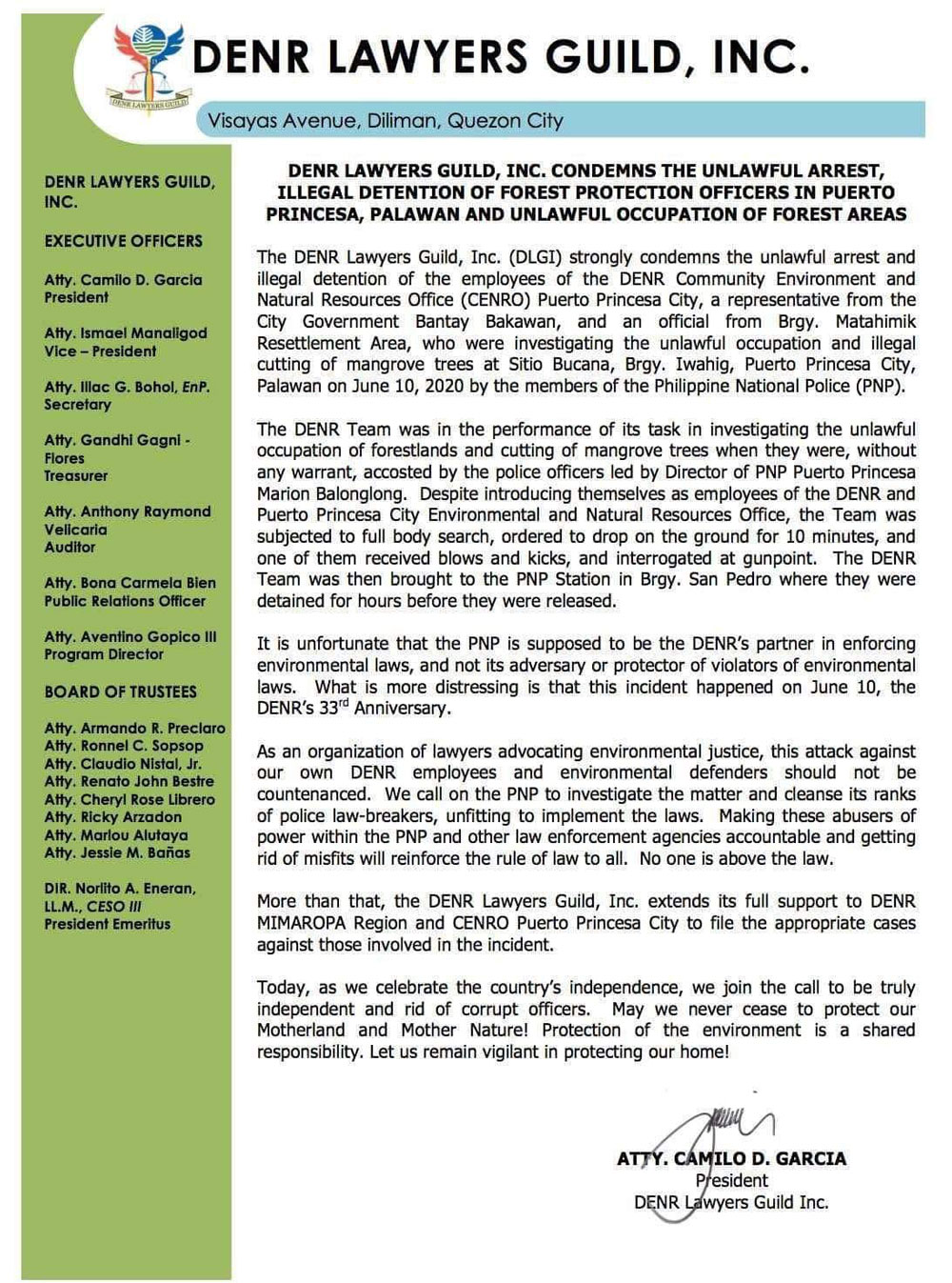 DENR Lawyers Guild Statement on Palawan web