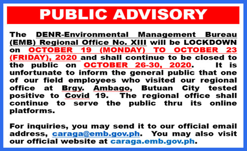 DENR-EMB-Region XIII Public Advisory on Covid-19